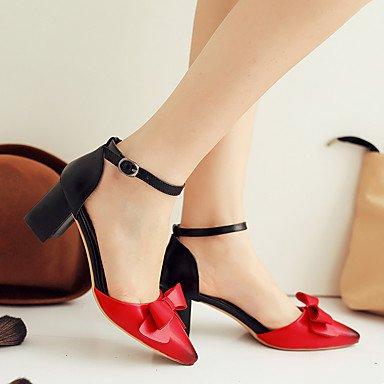 LvYuan Da donna-Sandali-Formale Casual Serata e festa-Altro-Quadrato-PU (Poliuretano)-Nero Rosso Tessuto almond Red