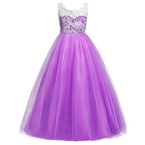 Wulide Kinder Mädchen Prinzessin Kleid Abendkleid mit 'Blumen'-Muster, Dunkellila,...