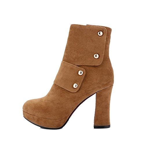 AgooLar Damen Niedrig-Spitze Reißverschluss Mattglasbirne Hoher Absatz Rund Zehe Stiefel, Kamel Farbe, 36