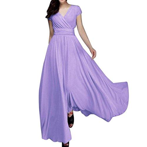 Beikoard vendita calda abbigliamento vestito donna vestito lungo da sera da sera con scollo a v in chiffon solido casual da donna alla moda (viola, xxxl)