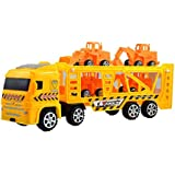 Lukas Truck Toy For Kids, Push And Go Toy, JCB Toy For Kids, Construction Truck With Four JCBs