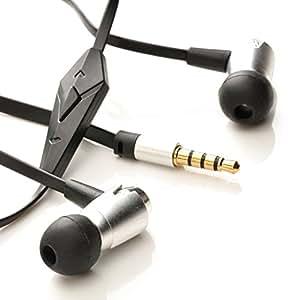 iprotect Premium Stereo in-Ear Kopfhörer Headset Flachkabel mit Mikro und Rufannahme für Alle Smartphones in Metallic Grau