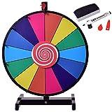 Blitzzauber 24 Glücksrad Spielzeug mit Basis, Prize Wheel, für Lotteriespiele Wortspiele oder erdachte Spiele, Farbe Rad Gesellschaftsspiel auf jeder Tischplatte spielbar 18