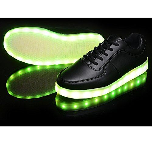 iLory de Couleur Mode Unisexe Homme Femme USB Charge LED Lumière Lumineux Clignotants Chaussures de Sports Baskets Sneakers Noir