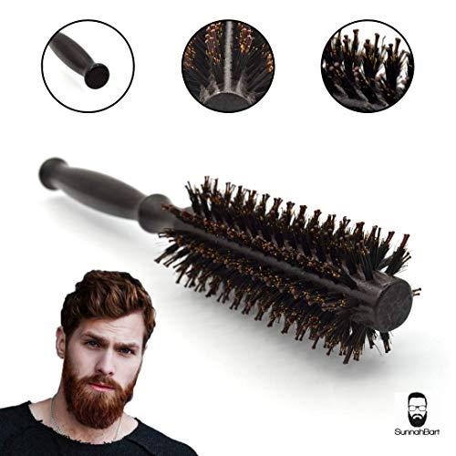 Sunnah Bart Männer Rundbürste - als Haarbürste, Bartbürste und Föhnbürste doppelt Borsten beste aus beiden Modellen- antistatisch mehr Glanz und Volumen