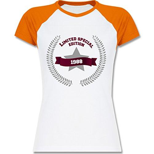 Shirtracer Geburtstag - 1988 Limited Special Edition - Zweifarbiges Baseballshirt/Raglan T-Shirt für Damen Weiß/Orange