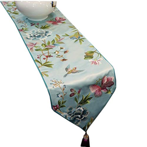Unbekannt Vogel-Sprache-Blumentisch-Flagge mischte Mode-einfaches nordisches Kaffee-Bett-Hochzeits-Hotel-Bankett 2 Farben 30cm * 180cm MUMUJIN (Farbe : Hellblau, größe : 200cm)