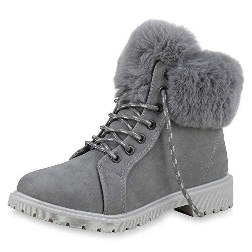 SCARPE VITA Damen Stiefeletten Worker Boots Warm Gefütterte Outdoor Schuhe 172309 Grau Grau Warm Gefüttert - Klassische Kostüm Für Kleinkind
