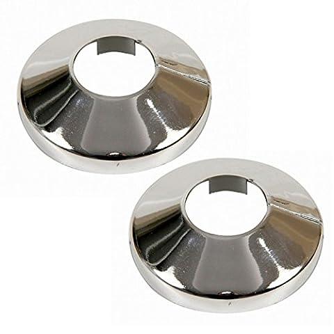 2 Stück PVC verchromt Heizungsrohr Deckelkragen stieg 22 mm x 2 (Heizkörper Isolierung)