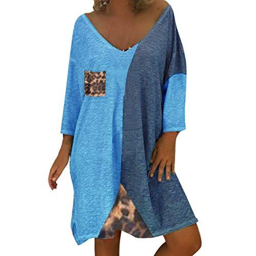 Damen lose Kleid Volltonfarbe Patchwork T-Shirt Leoparden Nähte V-Ausschnitt Langarm große Lange Kleid lässig Tasche T-Shirt Kleid Plissee Kleid Leoparden Patchwork Langarm O-Ausschnitt Minikleid -