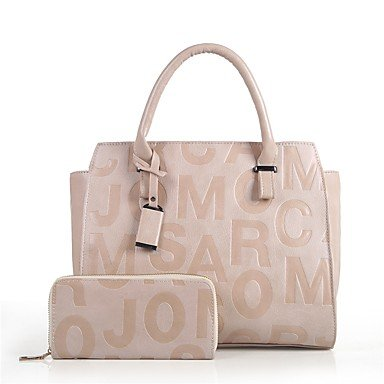 Borsa Donna imposta pu tutte le stagioni outdoor casual Office & carriera lampo Zipper Marrone Rosso Bianco Nero,Bianco White