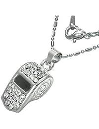 Mode Kristall Pfeiffe Charm Halskette mit Zirkon - Weiß
