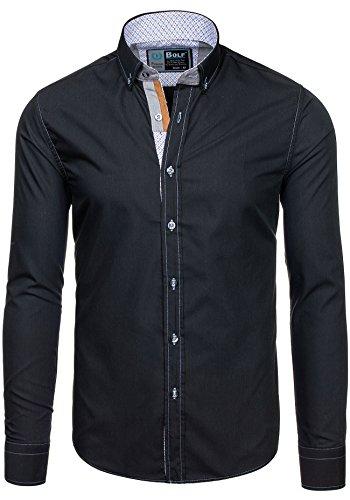 BOLF Herren Langarm Herrenhemd Figurbetont Freizeit Slim 5777 Schwarz