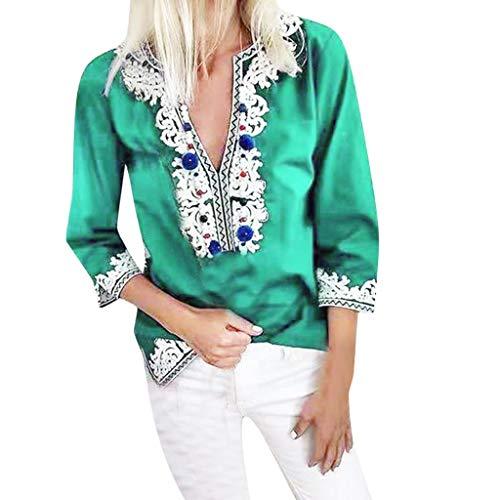 Yvelands Damen T-Shirt Lose halbe Hülse National Style Print Tops Bluse Vintage ethnischen Stil(Grün,XXXXL)
