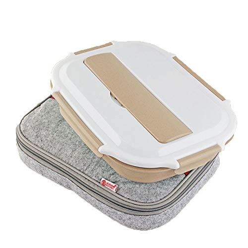 Lunch Box Mit Deckel, (304) Edelstahl Frischhaltedose, 4 Abschnitte Bento Boxen Für Studenten Erwachsene Kinder Picknick, Restaurant Container Tray, Essen Wärmer Teller, Geteilte Essen Tablett,Wheat+Bag