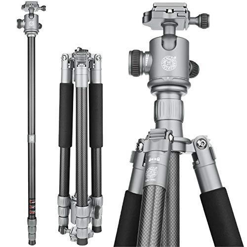 Nvsblt Trípode de cámara Y Monopod Q868C Puede Cargar 15 kg for la cámara Panasonic Nikon Fuji Pentax Ricoh Sony Panasonic Profesional de DSLR con el Soporte (Color : Gray)