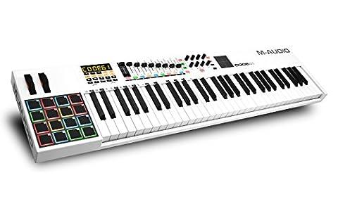 M-Audio Code 61 USB MIDI Keyboard Controller mit Anschlagdynamische Tasten, Pads (X/Y Touchpad)