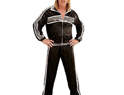 Widmann 73392 - Erwachsenenkostüm Jogginganzug, Jacke und Hose, schwarz, Größe (Fitness Kostüme Jahre 80er)