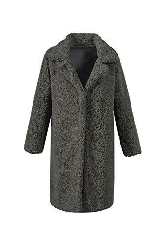 Fausse Fourrure Chaude L'hiver Occasionnel Des Brise - Vent Garnis Pour Épaissir Midi Trenchcoat. Navygreen
