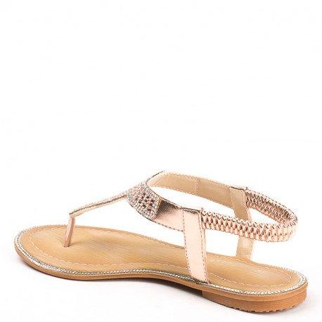 Ideal Shoes - Sandales plates en similicuir incrustées de strass Laenicia Champagne