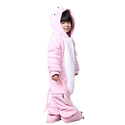 lifenewbaby Kids Cartoon Tier Pyjama Flanell Anime Cosplay Kostüm Geburtstag/Karneval/Halloween/Weihnachten/Neues Jahr Geschenk Gr. 2-3 Jahre|H 90 cm- 100 cm, Rosa, Schwein