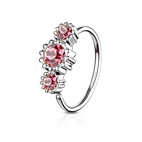 eeddoo Nasen-Piercing Ring Kristall biegbar Pink Edelstahl Rosa