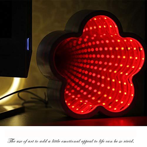 WETRR Tunnel Lampe 3D Infinity Miroir lumière Decor lumière LED veilleuse, néon lumières Lampe de Table Murale Batterie exploité pour Noël, fête d'anniversaire, Chambre d'enfant, Salle de séjour,Plum