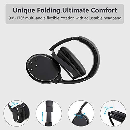 Kopfhörer Bluetooth Kabellos Noise Cancelling- Srhythm NC25- Over Ear Kopfhoerer mit Mikrofon Aktiver Geräuschunterdrückung 190g Ultraleicht Faltbar Hi-Fi Stereo mit Flugzeugstecker - 4