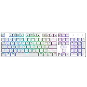 MechanicalEagle Z-88 Mechanische Gaming-Tastatur mit blauen Tasten, Regenbogenfarben, 104 Tasten, mit Kristall-Tastenkappen, Weiß und Blau
