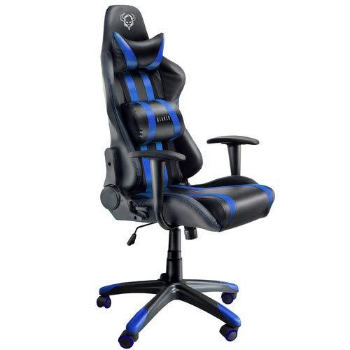 Diablo X-One Gaming Silla de Oficina Mecanismo de inclinación cojin Lumbar y Almohada Cuero sintético selección de Color (Negro/Azul), 129 x 75 x 51