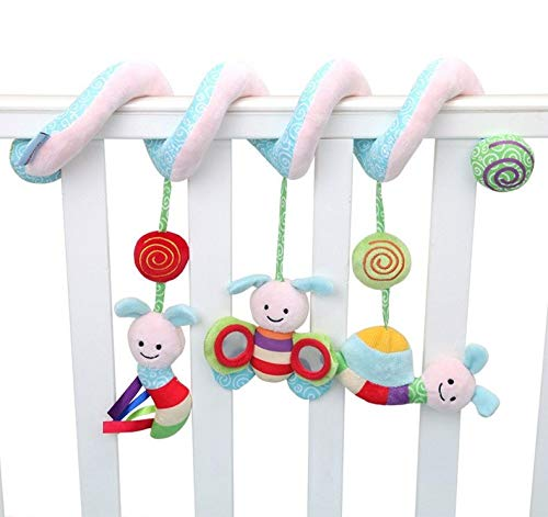 Baby Grow Infant Musical Soft Plush Bee Baby Rattles Infant Stroller Bed Crib Spiral Hanging Toys