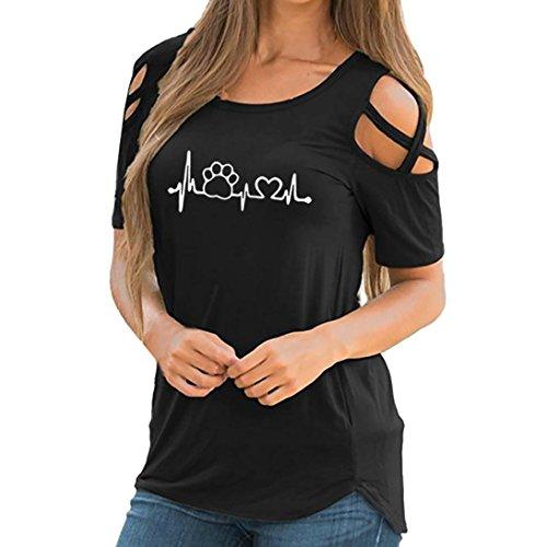 VEMOW Damen Cross Cold Schulter Lose Frauen Bluse Elegante Sommer Kurzarm Print Riemchen T-Shirt Tops Blusen Top Damen Strand Shirt Top(Schwarz 3, EU-38/CN-S) (Pullover Seide Drucken)