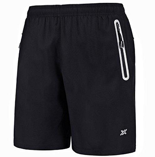 CuteRose Men's Running Camo Sports Fitness Gym Leisure Cozy Shorts Pants 4XL Black