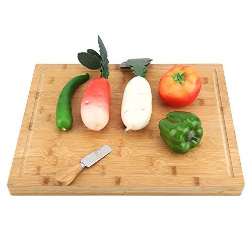 Cocoarm Schneidebretter Küchenbretter aus Bambus Küchenbrett Brotbrett Holzschneidebrett Ideal für Fleisch Gemüse und Käse Professionell langlebig 43 x 33 x 3,5 cm