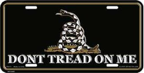 Cover Plate License Front (Don't Tread on Me - Gadsden Tea Party License Plate (Black) by License Plate Shop)