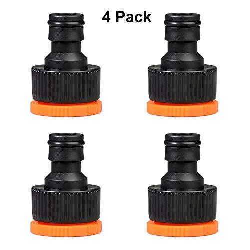 JUSUNG 4 Stück Gartenschlauch Wasserhahnanschluss 1/2 Zoll und 3/4 Zoll Außengewinde Kunststoff Wasserhahn Adapter 2 in 1