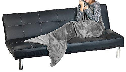 decke: Weiche Meerjungfrau-Decke mit Flosse für Erwachsene, 180 x 70 cm, grau (Decken mit Meerjungfrau-Schwanz) ()