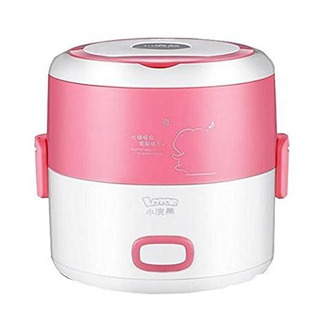 LIUYU Boîte à lunch à 2 couches Coffre à cuisson électrique / à riz et à vapeur et cuisinière à gaz électrique de 1,3 litres Cabine de chauffage à inox à inox multifonction (rose),Rose