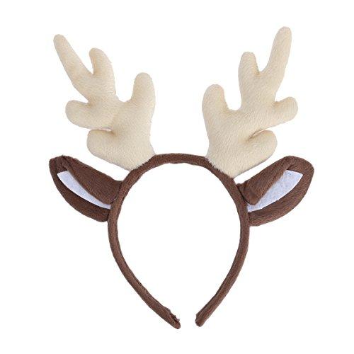Tinksky Weihnachten Kinder Stirnband, Rentier Geweih Haarband Headwear Haarband Kopf Boppers Haarspange für Kinder Weihnachten Kostüm Party (Milch-Weiß)