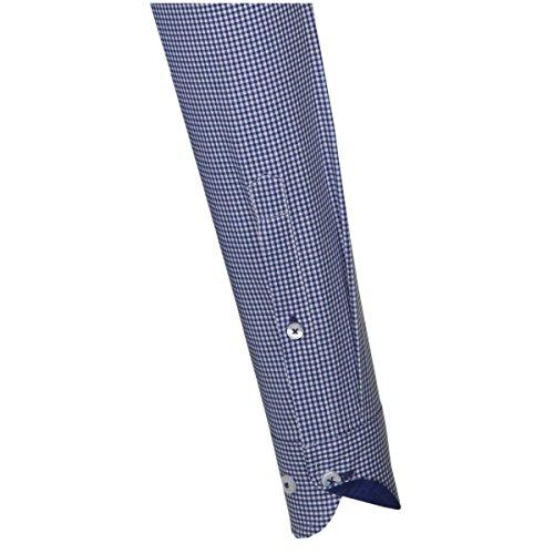Seidensticker Herren Langarm Hemd UNO Super Slim Stretch Hai-Kragen blau / weiß kariert mit Patch 574417.16 Blau