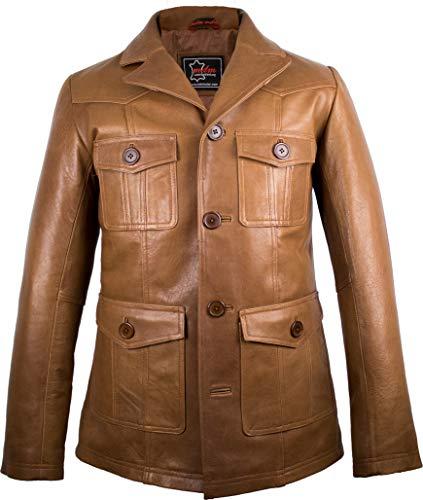 Herren Lederjacke aus weichem Rindnappaleder, 70er Jahre Style (L)