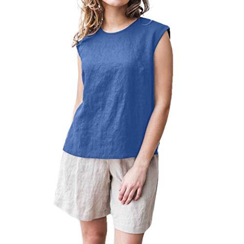 Weibliche sexy ärmellose Damen Sommermode einfarbig Baumwolle und Leinen Split Persönlichkeit Shirt