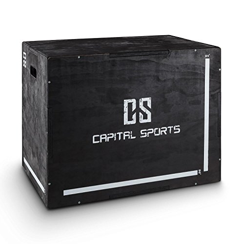 "Capital Sports Shineater Caja de Salto Pliométrica de 3 Alturas 20"" 24"" 30"" (Cajón pliométrico de madera 11 capas, 3x altura entrenamiento, apto gimnasio profesional o entrenamiento aire libre, color negro)"