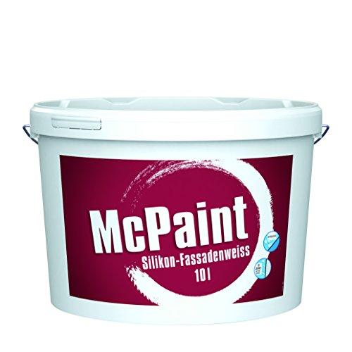 McPaint Silikon Fassadenweiß für außen, mit Lotus-Formel und extra UV-Schutz, weiß, 10 L