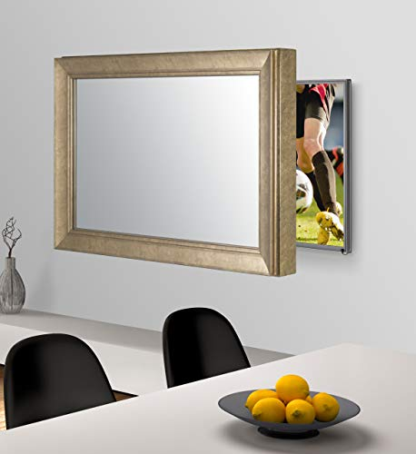 Handmade Framed Mirror to Turn Your Existing TV to Hidden Mirrored Television that Blends into Your Home or Business Decor (49 Inch, NY Bronze Black)