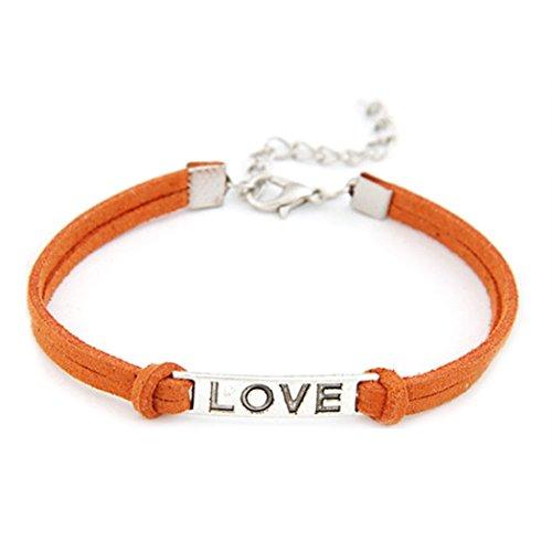Vovotrade ♥♥1PC Frauen Mann Liebes handgemachtes Legierungs Seil Charme Schmucksache Webart Armband Geschenk (Orange) (Liebe Mann-charme-armband)