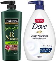 TRESemme Botanique Nourish and Replenish Shampoo, 580ml & Dove Deeply Nourishing Body Wash, 800 ml