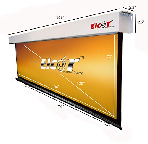 "ELCOR Manual Wall Series No-Autolock System, 4:03 Aspect Ratio, 6ft.Height x 8ft. Width, 120"" Diagonal in HD,3D,4K Technology."