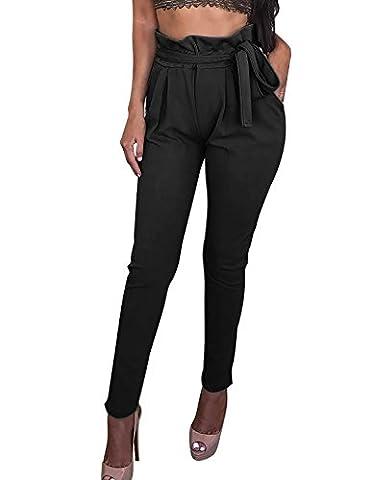 Pantalon Femme Taille Haute Fluide Slim Legging Crayon de Mousseline Cordon Pantalons de Harem(bk,s)