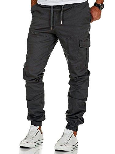 Amaci&Sons Herren Stretch Jogger Cargo Chino Jeans Hose 7006 Anthrazit W34